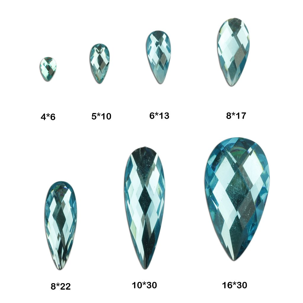 evol aquamarine faceted tear drop face gems