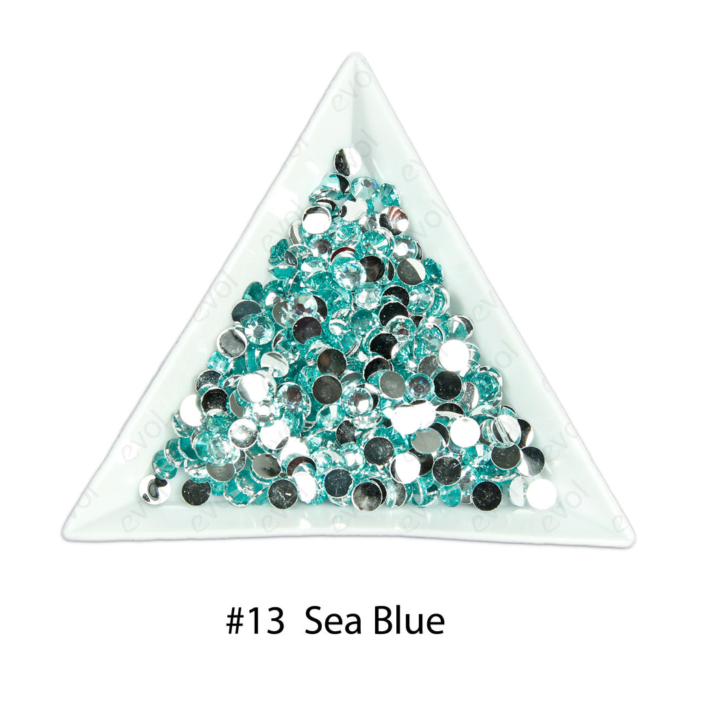 #13 Sea Blue - Bag of Flat Back Rhinestone Face Gems in Choice of 2,3,4,5 or 6mm