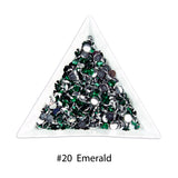 #20 Emerald - Bag of Flat Back Rhinestone Face Gems in Choice of 2,3,4,5 or 6mm