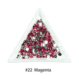 #22 Magenta - Bag of Flat Back Rhinestone Face Gems in Choice of 2,3,4,5 or 6mm