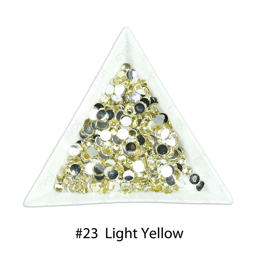 #23 Light Yellow - Bag of Flat Back Rhinestone Face Gems in Choice of 2,3,4,5 or 6mm