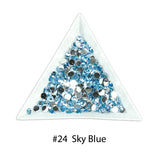 #24 Sky Blue - Bag of Flat Back Rhinestone Face Gems in Choice of 2,3,4,5 or 6mm