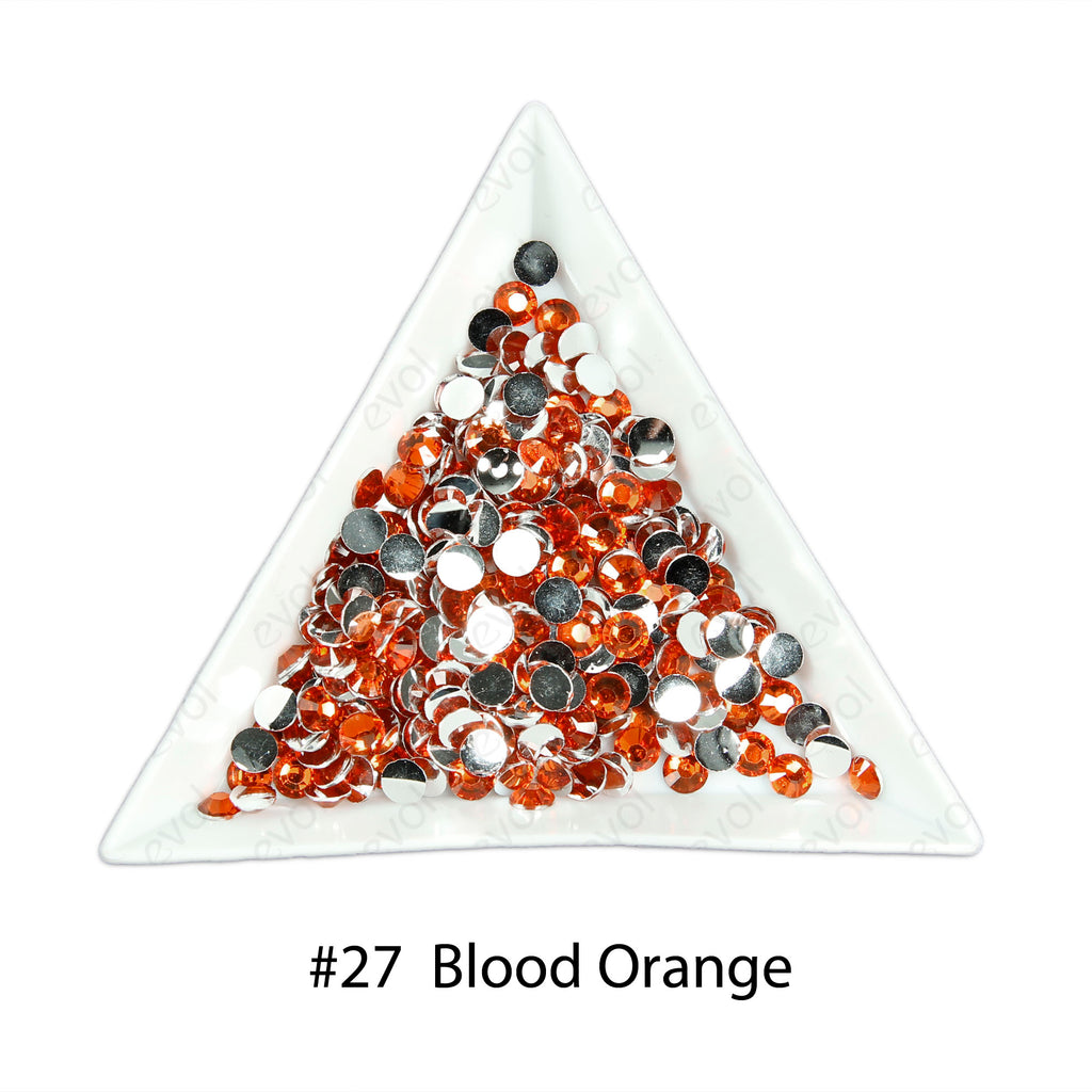 #27 Blood Orange - Bag of Flat Back Rhinestone Face Gems in Choice of 2,3,4,5 or 6mm