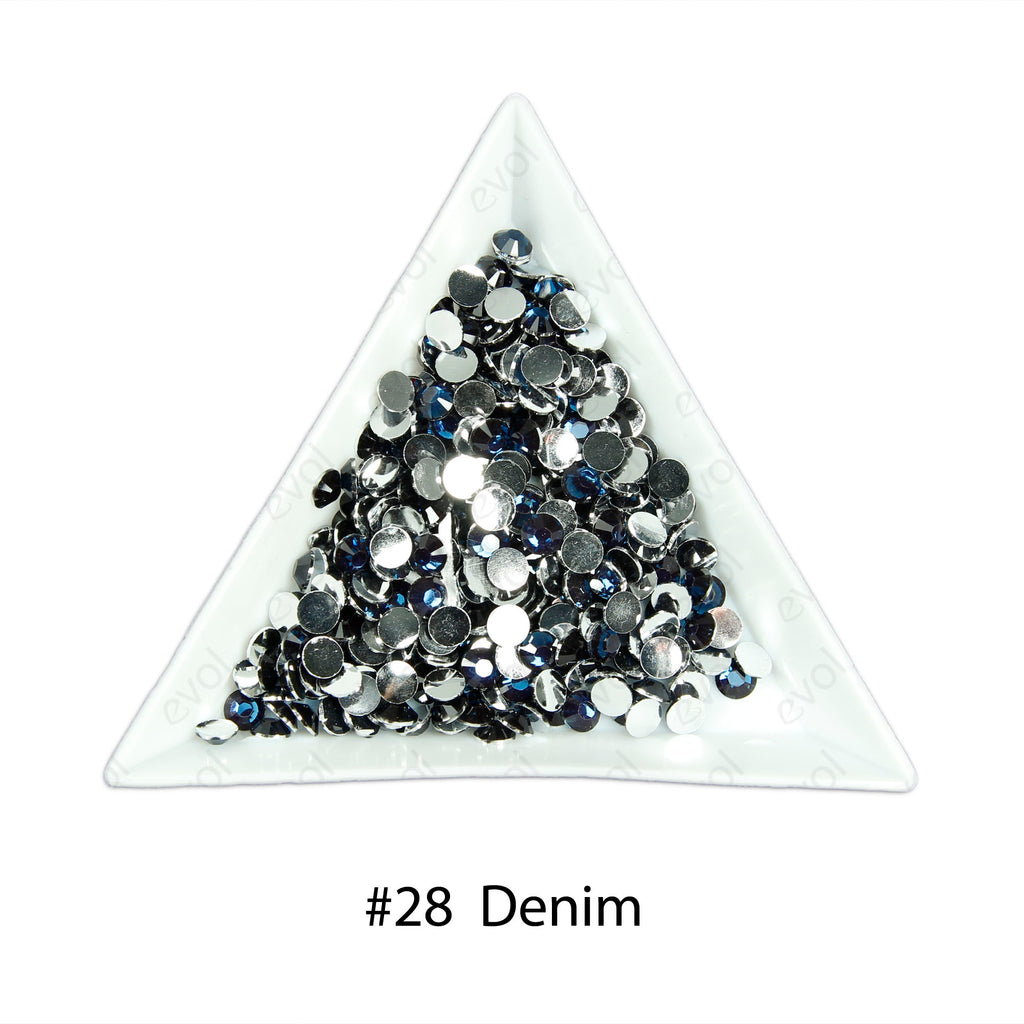 #28 Denim - Bag of Flat Back Rhinestone Face Gems in Choice of 2,3,4,5 or 6mm