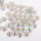 100pcs 【Iridescent Clear】 Glass Rhinestone Face Gems 2mm-5mm