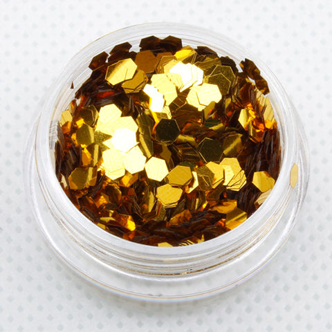 metallic gold hexagon chunky festival face glitter
