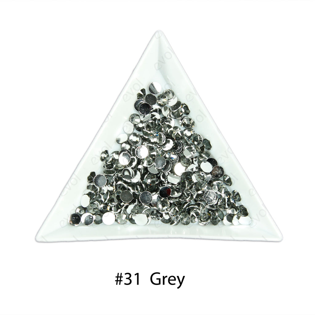 #31 Grey - Bag of Flat Back Rhinestone Face Gems in Choice of 2,3,4,5 or 6mm