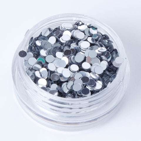 evol metallic silver disc face glitter