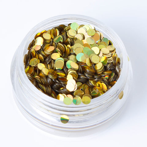 Holographic Gold 2mm or 3mm Disc Shape Cosmetic Glitter