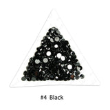 #4 Black - Bag of Flat Back Rhinestone Face Gems in Choice of 2,3,4,5 or 6mm