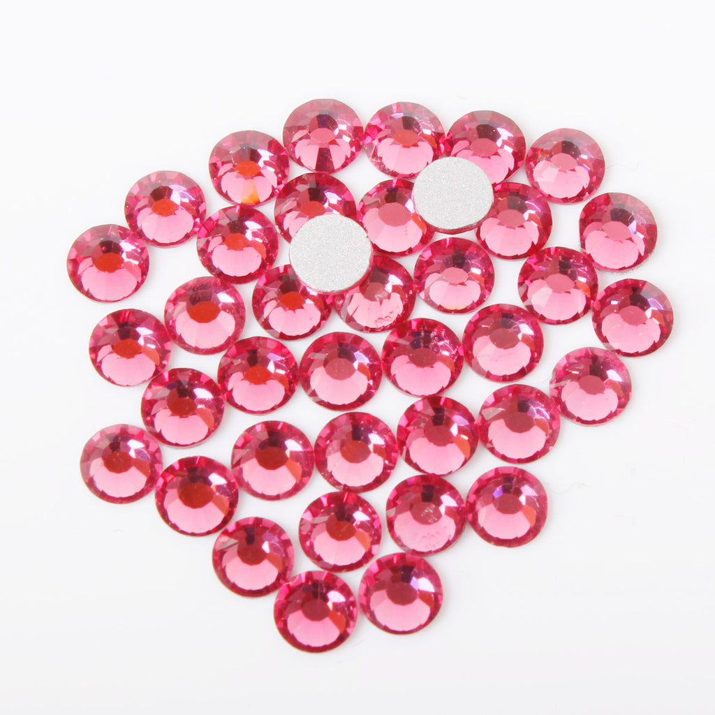 100pcs 【Hot Pink】 Glass Rhinestone Face Gems 2mm-5mm