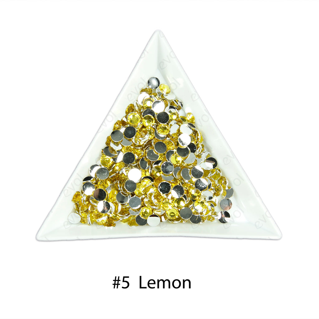 #5 Lemon - Bag of Flat Back Rhinestone Face Gems in Choice of 2,3,4,5 or 6mm