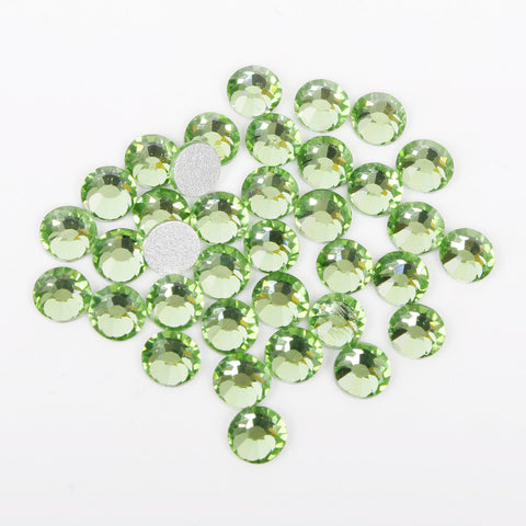 【Light Green】 Glass Rhinestone Face Gems 2mm-5mm