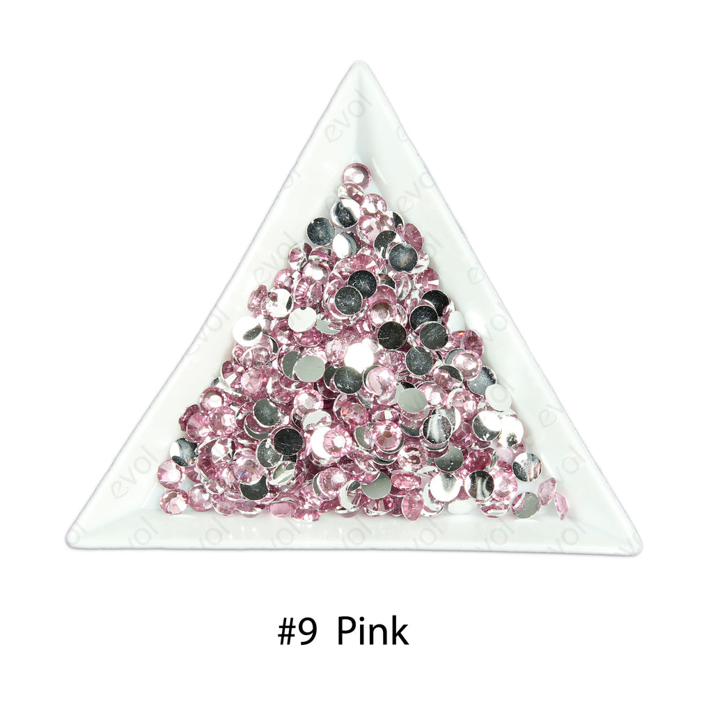 #9 Pink - Bag of Flat Back Rhinestone Face Gems in Choice of 2,3,4,5 or 6mm
