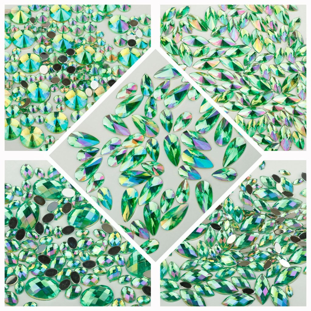 """Emerald"" 10g Bag of Flat Back Face Gems in a Choice of Shapes"