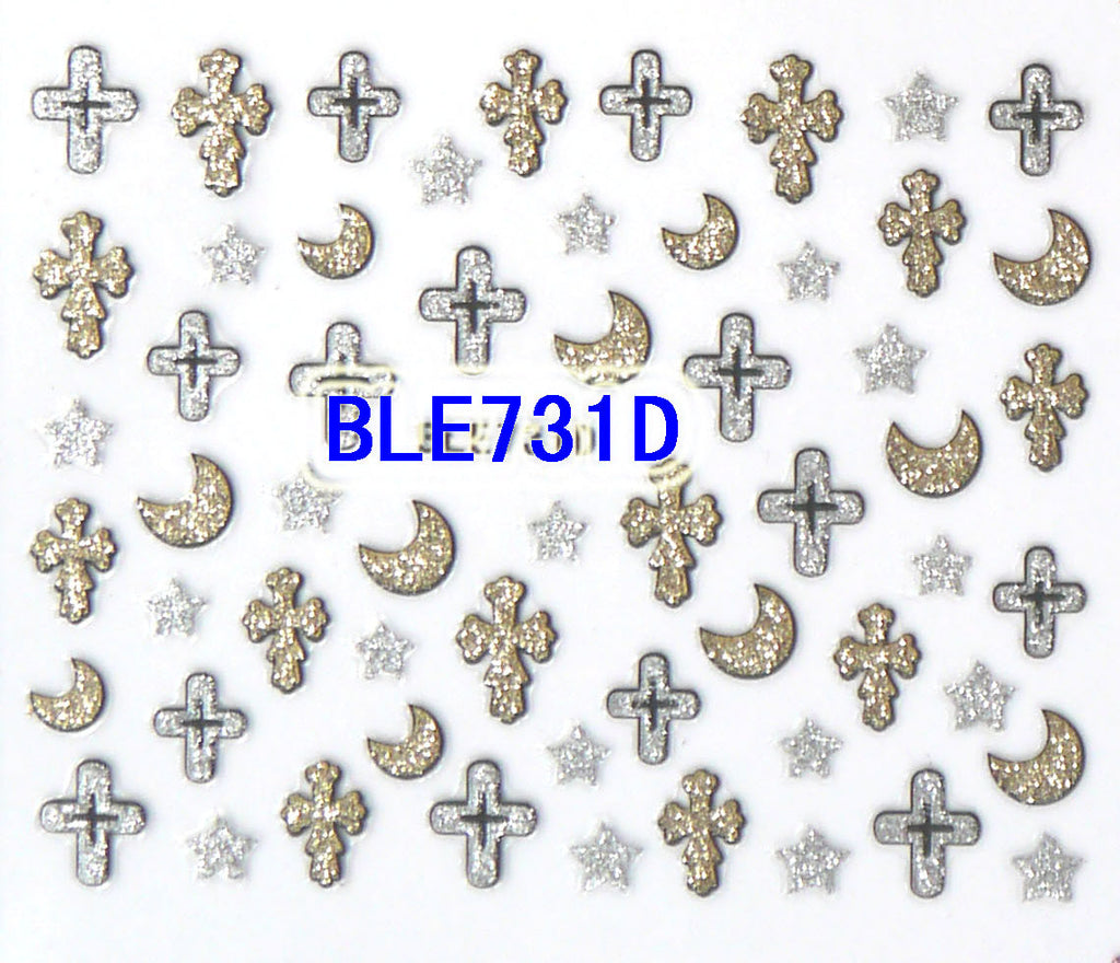 Halloween Glitter Crosses Stars Moons 3D Nail Art Stickers Decals