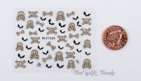 Halloween Gold Glitter Skulls Bones Bats 3D Nail Art Stickers Decals