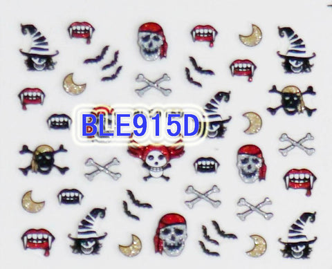 Halloween Glitter Pirate Skulls Bats Vampire Teeth 3D Nail Art Stickers Decals