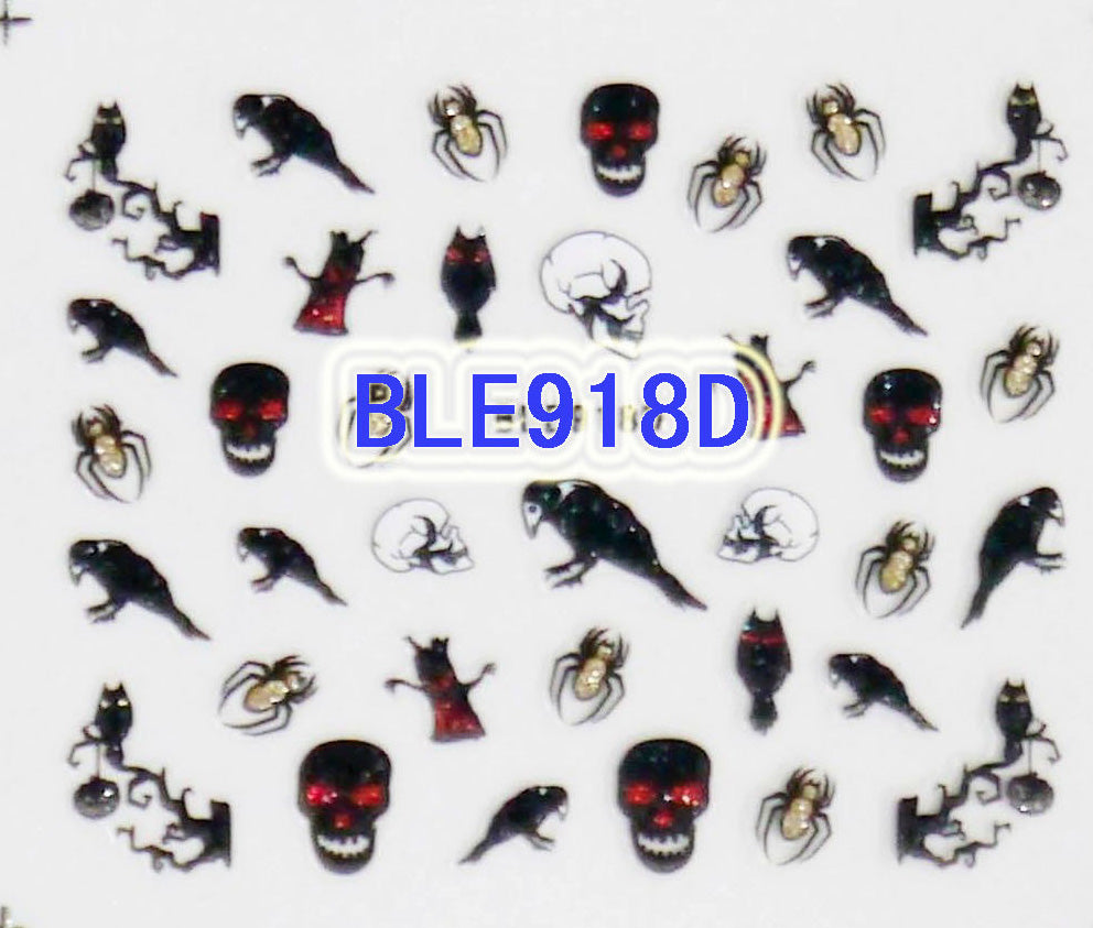 Halloween Glitter Black Crow Gold Spiders B&W Skulls 3D Nail Art Stickers Decals