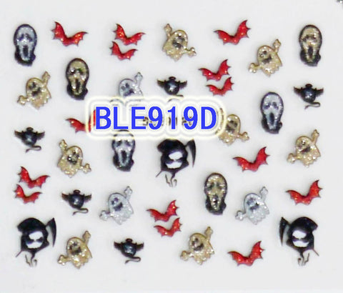 Halloween Glitter Ghost Reaper Scream Mask Red Bat 3D Nail Art Stickers Decals