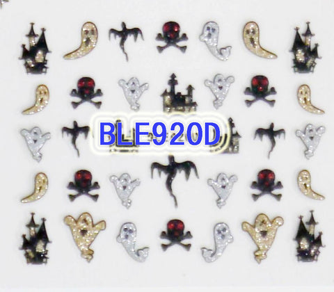 Halloween Gold Silver Glitter Ghost Skulls Castles 3D Nail Art Stickers Decals