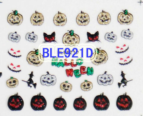 Halloween Gold Silver Black Glitter Pumpkin Witch Cat 3D Nail Art Sticker Decals