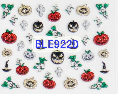 Halloween Gold Silver Black Red Glitter Pumpkin Cross 3D Nail Art Sticker Decals