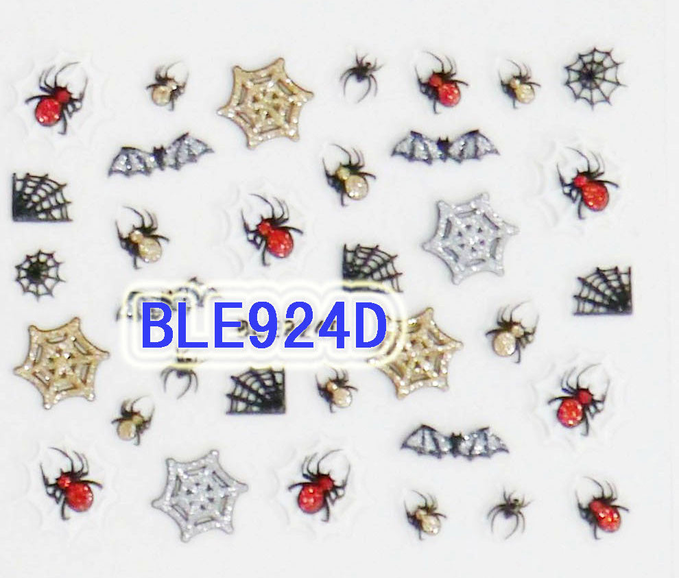 Halloween Gold Silver Red Glitter Spiders Webs Bats 3D Nail Art Sticker Decals