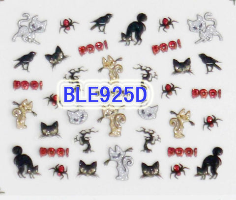 Halloween Glitter Cats Spider Crows Tree Branch BOO! 3D Nail Art Sticker Decals