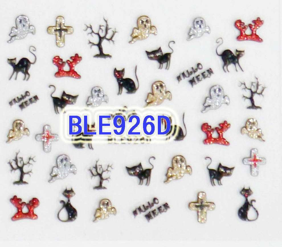 Halloween Glitter Cats Ghost Cross Tree Branch Hands 3D Nail Art Sticker Decals