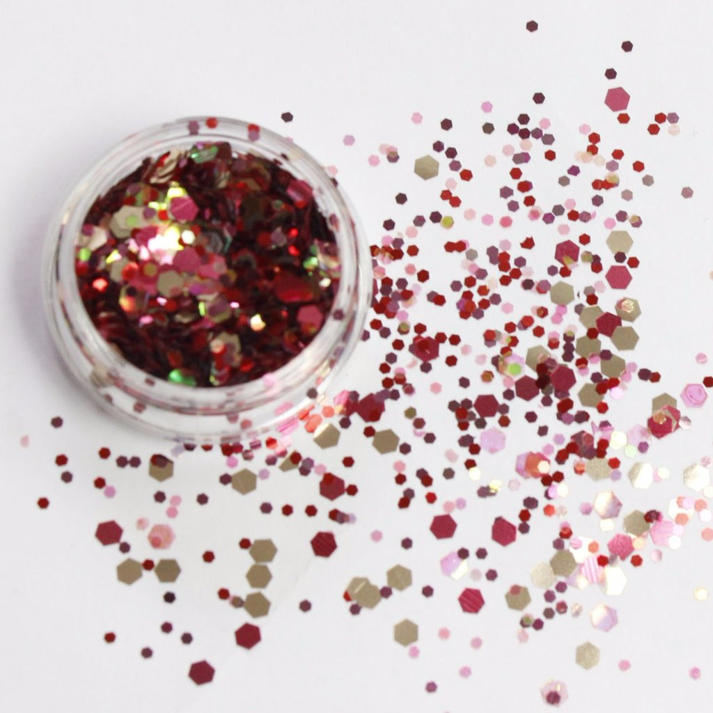 evol chinese lantern red chunky face glitter mix