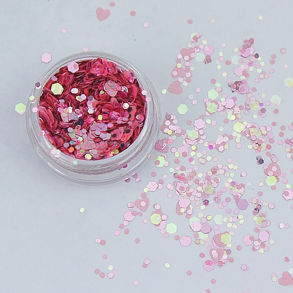 evol for lovers iriidescent pink chunky face glitter mix