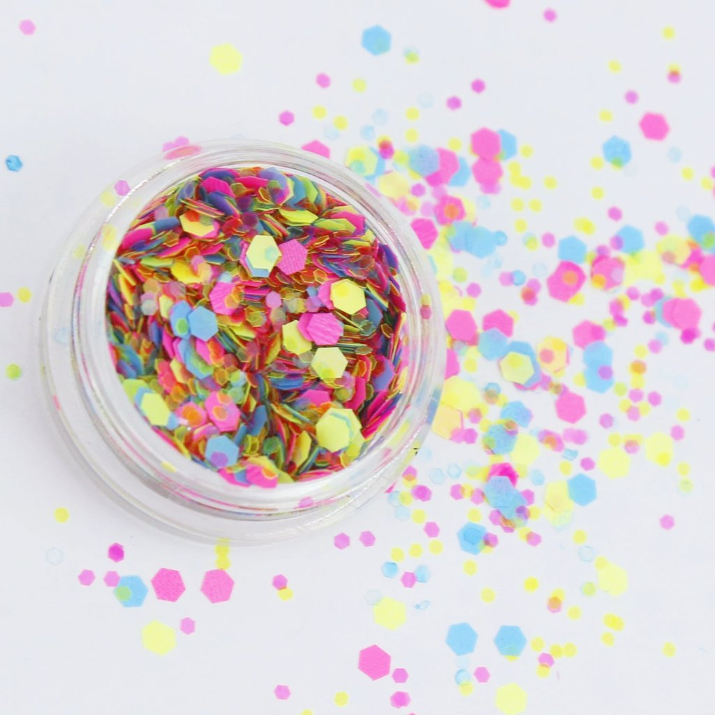 evol disco uv fluorescent chunky face glitter mix