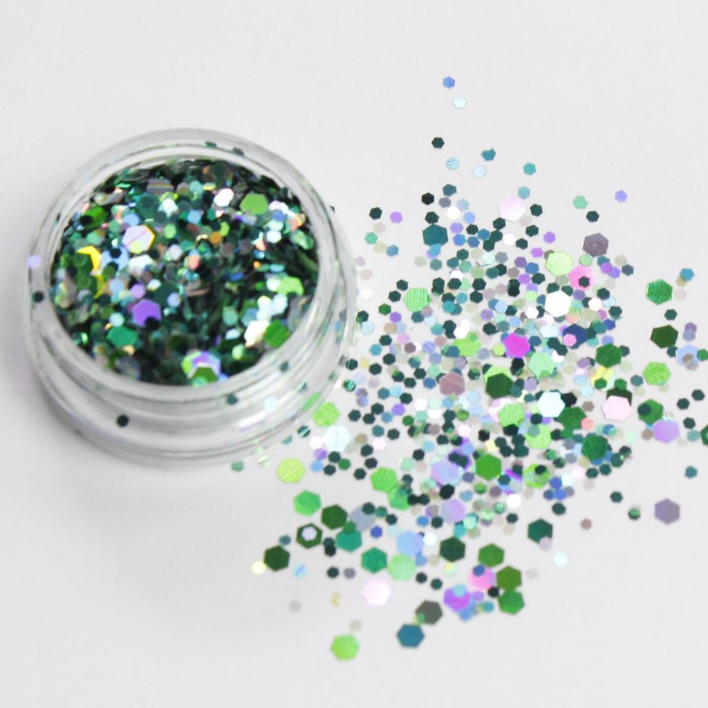 holographic green glitter mix forest evol