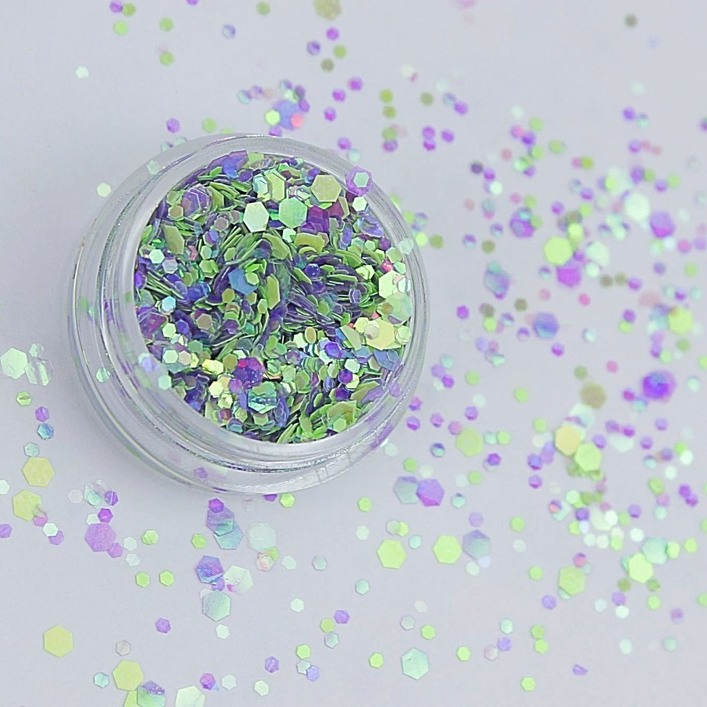 evol chameleon green and purple chunky cosmetic glitter sparkles mix
