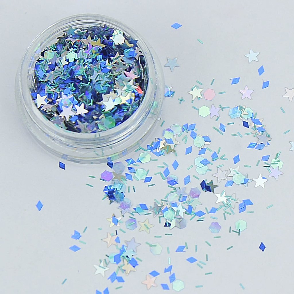 evol night garden starry glitter mix in blue and silver