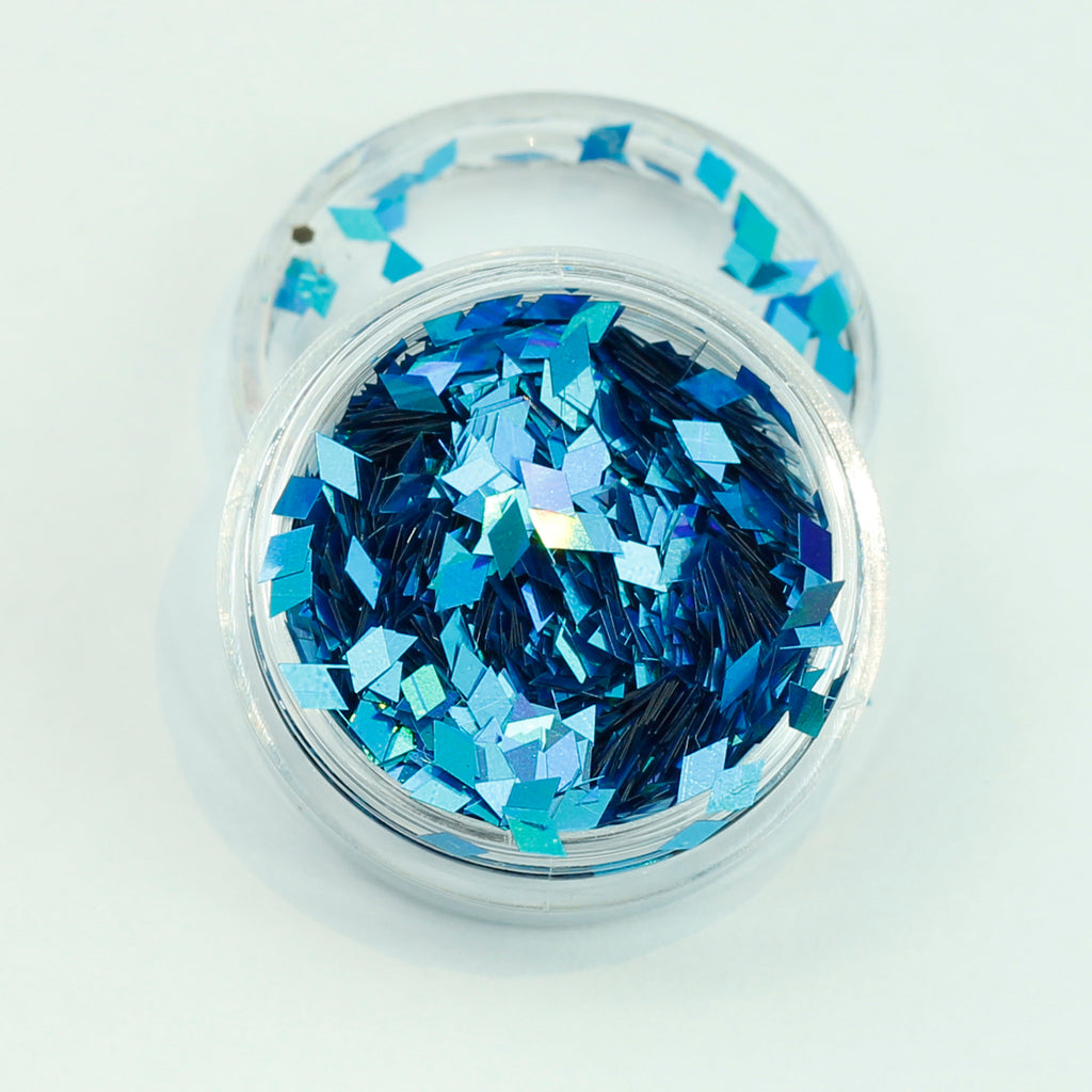Holographic Electric Blue Diamond Shape Face Glitter Size 1mm - 3mm