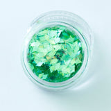 Iridescent Green Diamond Shape Face Glitter Size 1mm - 3mm