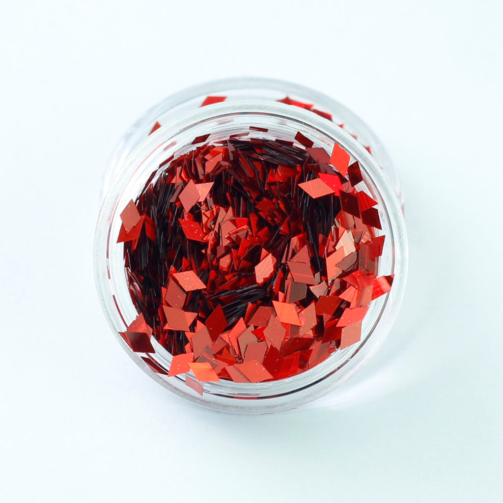 Holographic Red Diamond Shape Face Glitter Size 1mm - 3mm