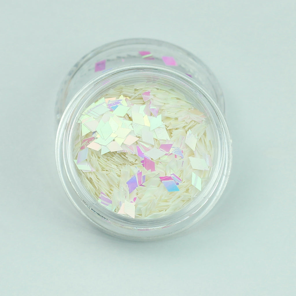 Opaque Iridescent White Diamond Shape Face Glitter Size 1mm - 3mm