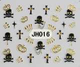 Halloween Black Skull Cross Gold Rhinestons Crowns 3D Nail Arts Stickers Decals