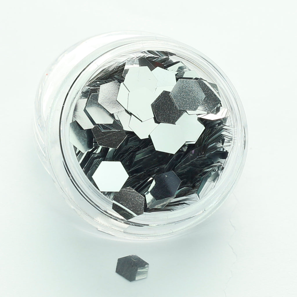 super chunky silver hexagon cosmetic glitter evol