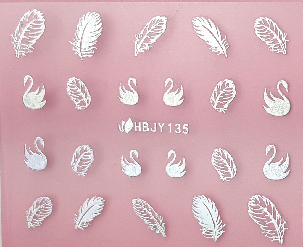 Silver/ Black/ White, Swans Classic Feathers 3D Nail Art Sticker Decals
