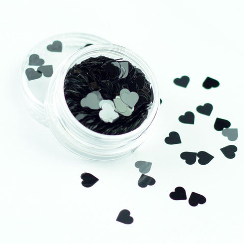 3mm black heart festival face glitter evol