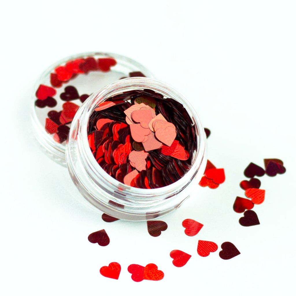 evol holographic red heart shape festival glitter pot