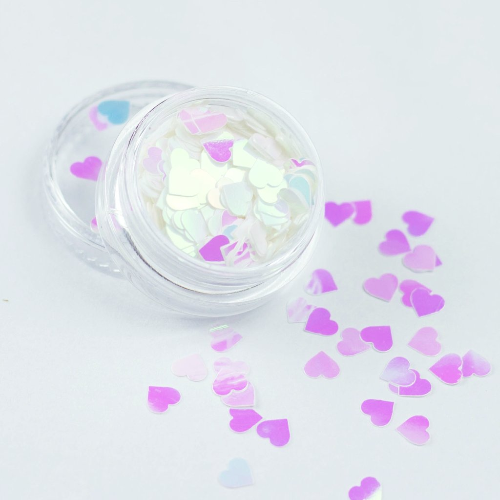 evol white opaque iridescent hearts cosmetic glitter pot