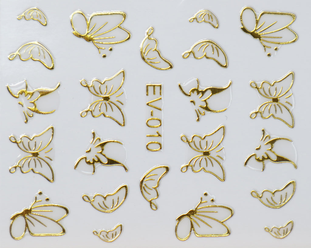 "3D ""Outlined Butterfly"" Metallic Stickers in Gold, Silver, Rose Gold"