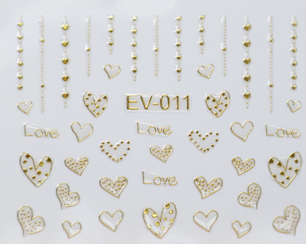 "3D ""Hanging Dotted Hearts"" Metallic Stickers in Gold, Silver, Rose Gold"