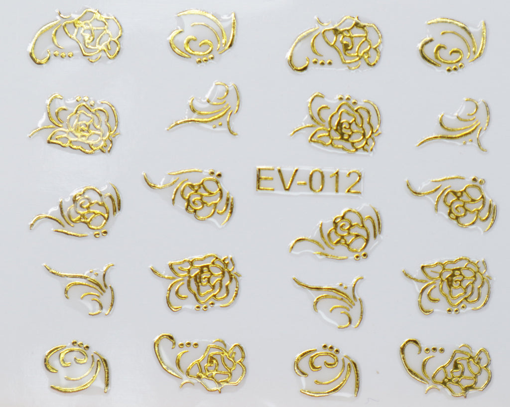 "3D ""Roses Scrolls"" Metallic Stickers in Gold, Silver, Rose Gold"