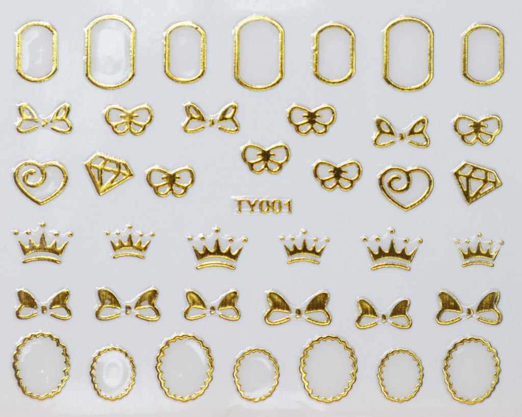 "3D ""Bows, Crowns, Frames"" Metallic Stickers in Gold, Silver, Rose Gold"